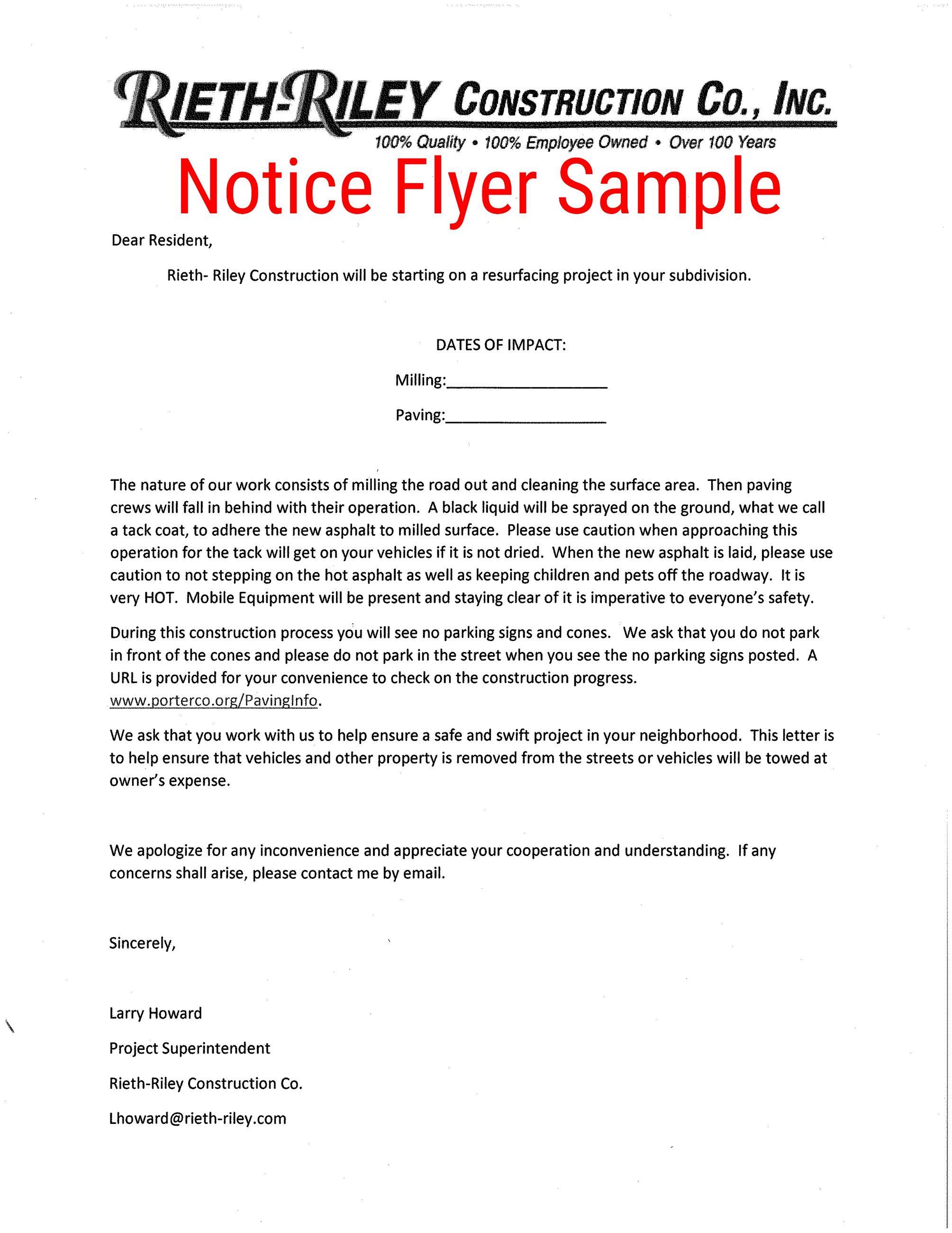 Notice Flyer Sample PNG