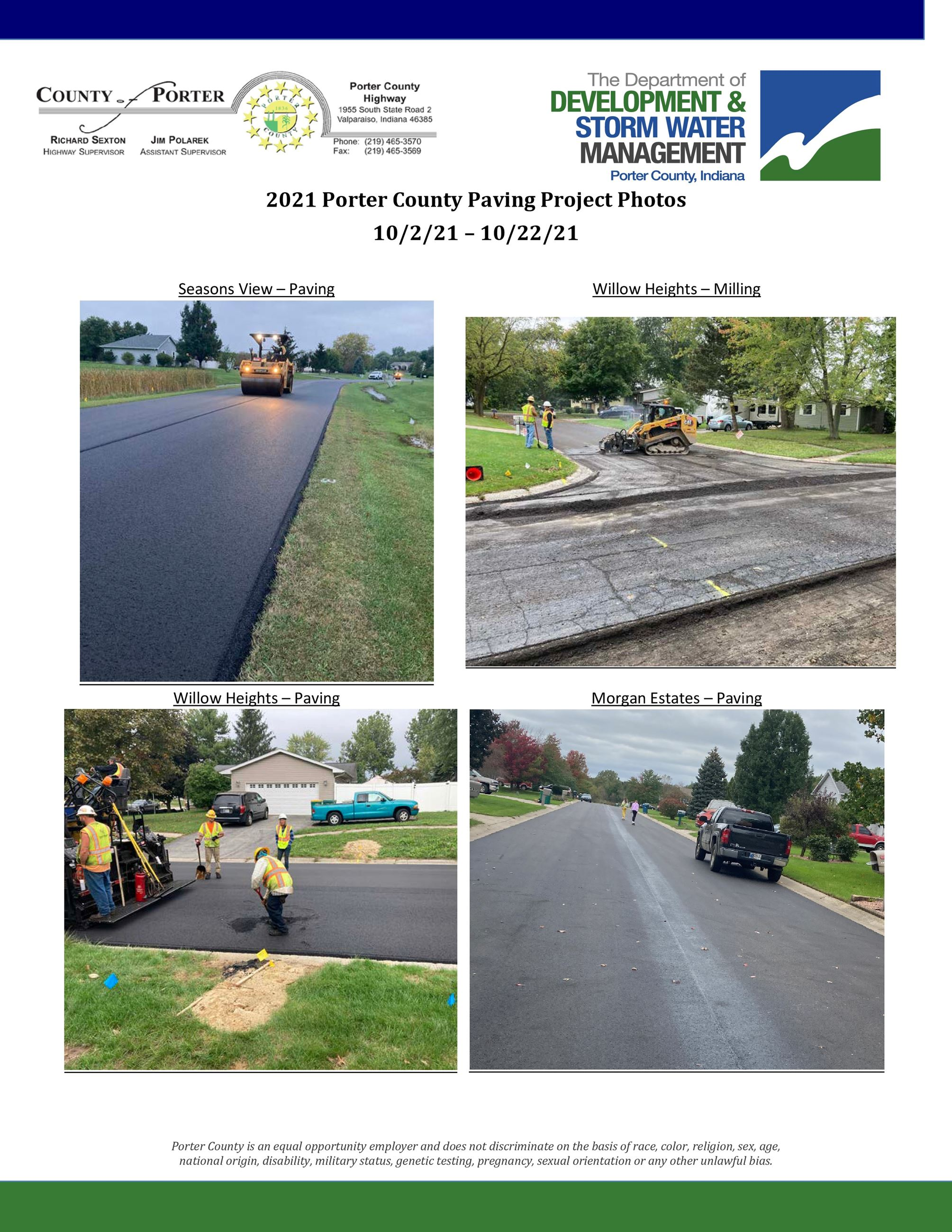 Photos of the 2021 Subdivisions Paving Projects